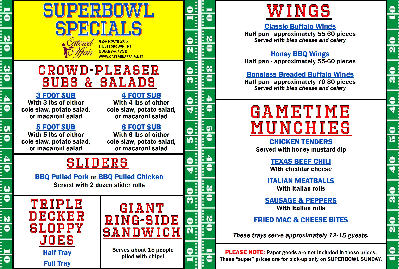 Superbowl Specials!